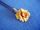 Antique Carved Bone Rose Pendant(Small Size) on New Silver Chain (SOLD)